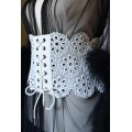 WIDE LACE WHITE IVORY CORSET BELT FOR FEMALE ROBE