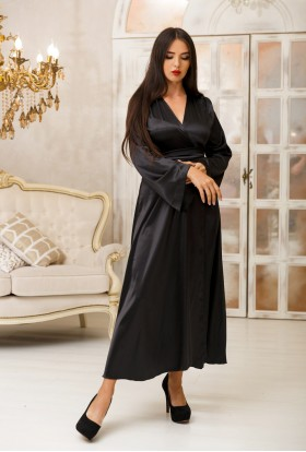 FEMININE BLACK LONG SILK DRESSING GOWN