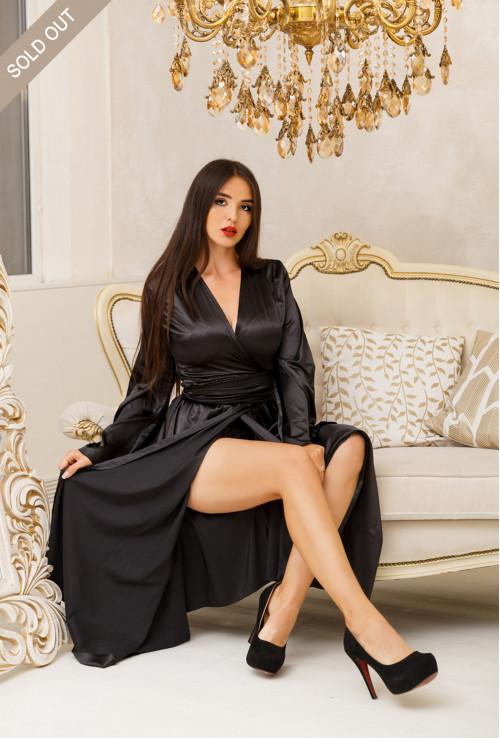 FEMININE BLACK LONG SILK DRESSING GOWN LUXURY STYLE