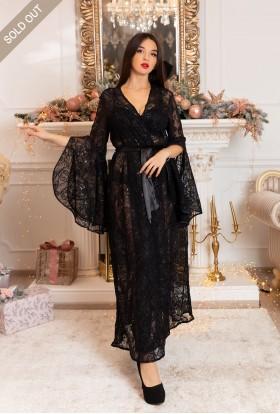 BLACK ELEGANT LONG DRESSING GOWN FOR WOMEN