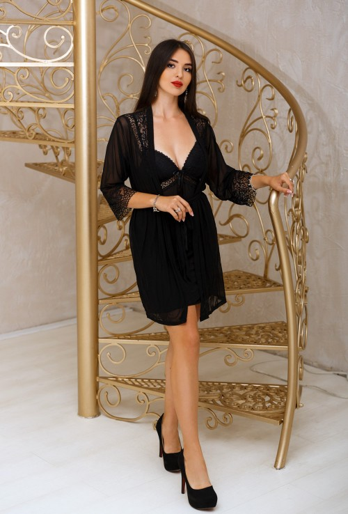 3 piece pajama set -Sexy Long Sleeve Dressing Gown Chemise G-string. The best Valentine's Day Gift idea for women.