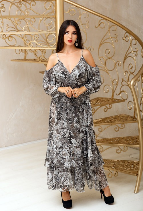 Abstarct Chiffon Long Dressing Gown with Open Shoulders and Ruffs