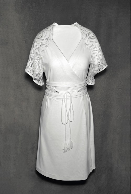 EXCLUSIVE IVORY WHITE BRIDAL DRESSING GOWN WITH A WIDE BELT FOR WOMEN