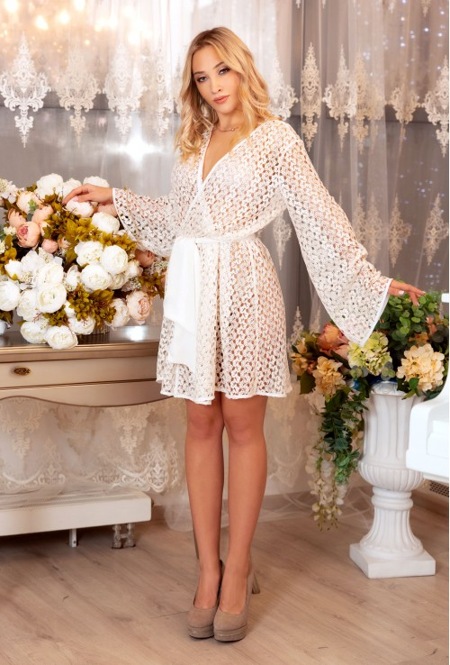 WHITE GUIPURE SEXY DRESSING GOWN FOR WOMEN