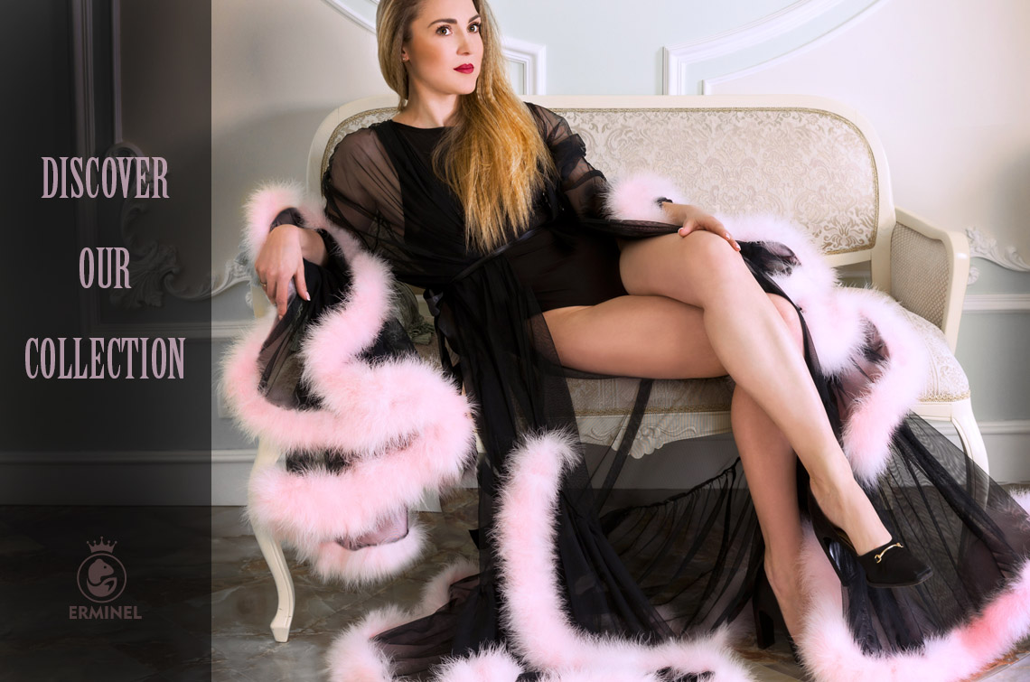 Erminel luxury feather robe