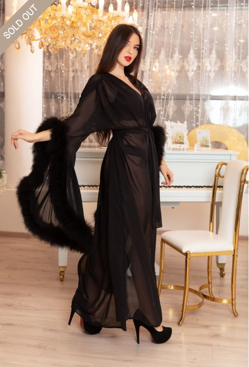BLACK DRESSING GOWN WITH FEATHER SLEEVES. The best Valentine's Day Gift idea for women.