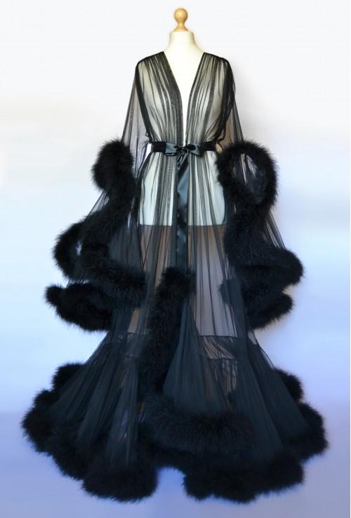 BEAUTIFUL TRANSPARENT BLACK FEATHER LONG BOUDOIR DRESSING GOWN