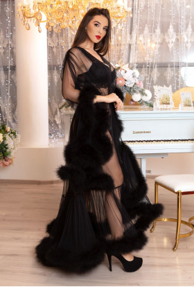 Erminel. Black Long Transparent Sexy Boudoir Robe with Marabou Feathers. Burlesque Pin-up Sexy lingerie. Best St.Valentine Gift for women.