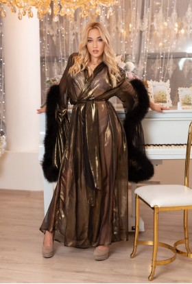 GOLDEN BLACK CHIFFON DRESSING GOWN MARABOU FEATHERS LINGERIE . The best Valentine's Day Gift idea for women.