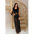 Black Sexy Transparent Long Marabou Feather Lingerie erotic ladies mesh nightwear