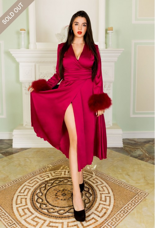 Beautiful Ruby color Marabou Feather Silk Sexy Robe for Women. Boudoir style long silk dresing gown.
