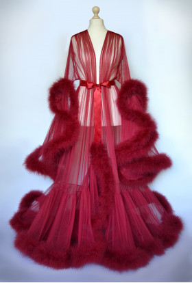 BURGUNDY MARABOU FEATHER LUXURY DRESSING GOWN FROM TRANSPARENT MESH. The best Valentine's Day Gift idea for women.
