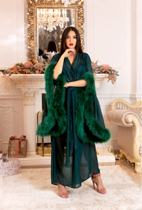 ESMERALD GREEN FEATHER CHIC LONG ROBE