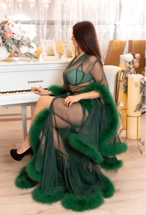 GREEN LONG FASHIONABLE CHIC FEATHER LINGERIE