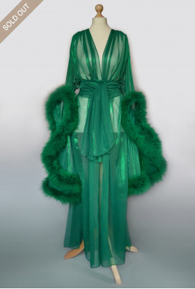 GREEN FEATHER TRANSPARENT CHIFFON BOUDOIR SEXY ROBE