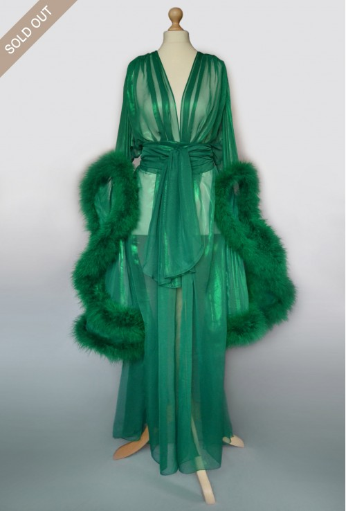 GREEN FEATHER TRANSPARENT BOUDOIR ROBE FROM QUALITY CHIFFON
