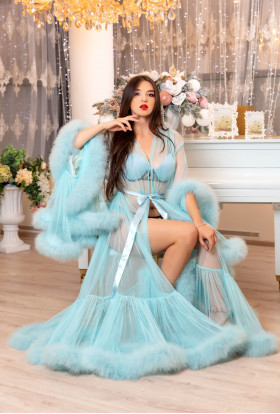 TURQUOISE SEXY LINGERIE MARABOU FEATHER ROBE