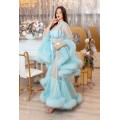 LIGHT BLUE MARABOU FEATHER DRESSING GOWN. The best Valentine's Day Gift idea for women.
