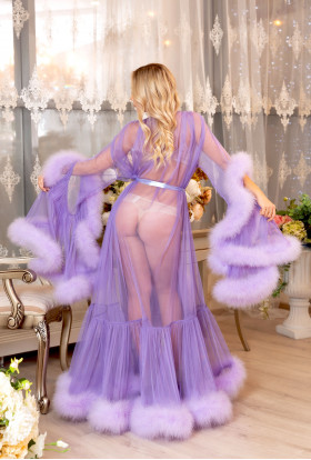 LILAC LIGHT PURPLE FEATHER ROBE LUXURY SEXY LINGERIE