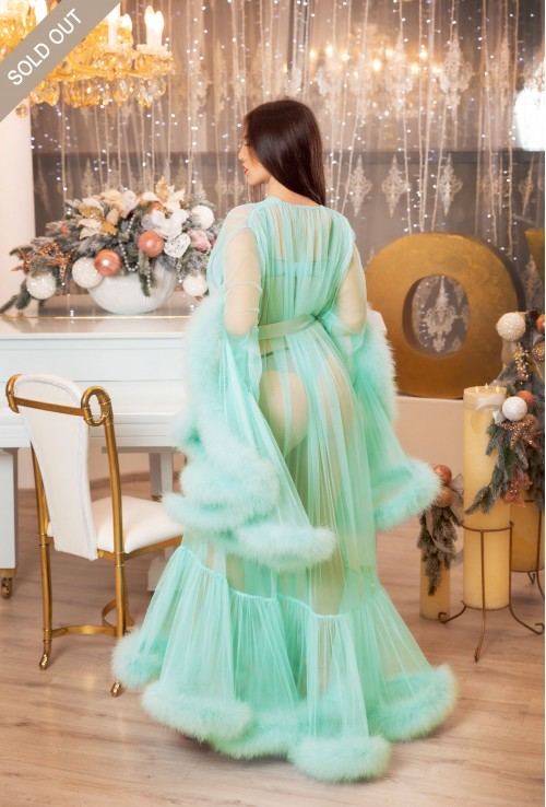 Erminel Mint Green Menthol Turquoise Burlesque Boudoir robe Sexy Luxury Marabou Feather Lingerie for  Wedding, Maternity photo shoot