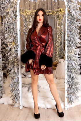 LUXURY RED METALLIC BLACK FEATHER DRESSING GOWN