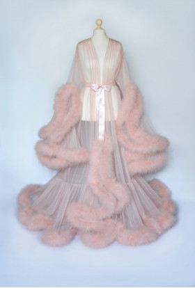 BEAUTIFUL PEACH MARABOU FEATHER TRANSPARENT LINGERIE FOR WOMEN. The best Valentine's Day Gift idea for women.