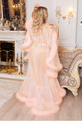 PEACH TULLE MARABOU BOUDOIR FEATHER ROBE