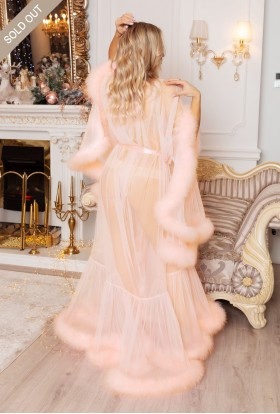 Erminel PEACH TULLE MARABOU BOUDOIR FEATHER ROBE Best Valentine's Day Gifts for the Woman