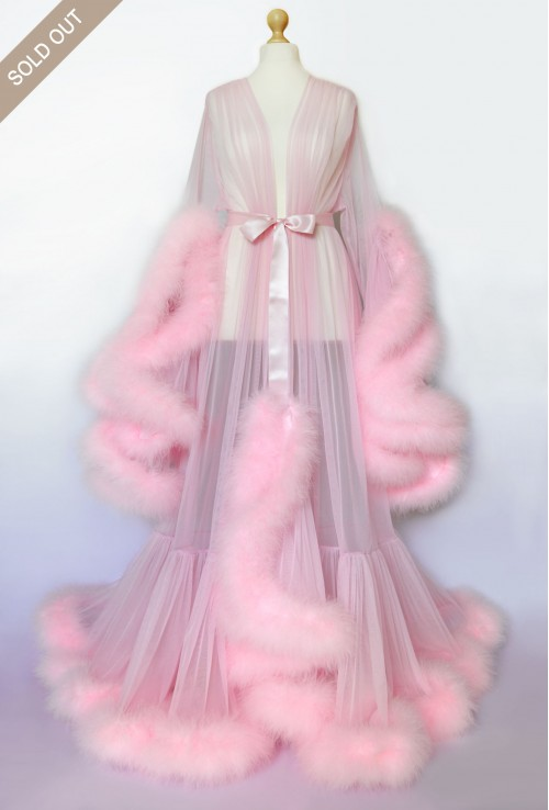 BEAUTIFUL PINK MARABOU FEATHER DRESSING GOWN FOR WOMEN. The best Valentine's Day Gift idea for women.