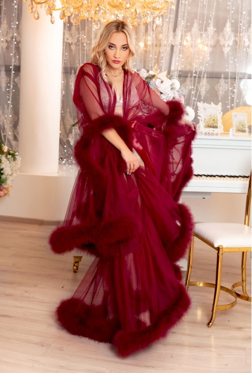 BURGUNDY MARABOU FEATHER CHRISTMAS DRESSING GOWN
