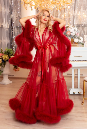 RED FEATHER ROBE BOUDOIR SEXY LUXURY LINGERIE