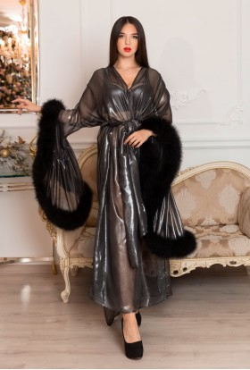 SILVER METALLIC CHIFFON DRESSING GOWN WITH BLACK MARABOU FEATHERS