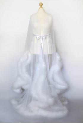 WHITE MARABOU FEATHER BRIDAL SEXY TRANSPARENT DRESSING GOWN FOR WOMEN