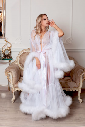 WHITE SEXY LINGERIE  LONG BOUDOIR FEATHER ROBE