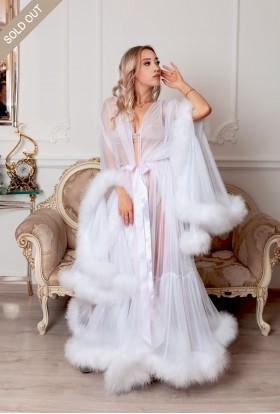 WHITE MAXI BOUDOIR FEATHER DRESSING GOWN