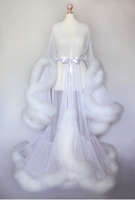 LUXURIOUS WHITE FEATHER WOMEN LONG TRANSPARENT MESH DRESSING GOWN
