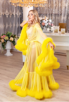 YELLOW FEATHER DRESS LUXURY BOUDOIR DRESSING GOWN