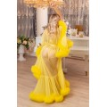 BRIGHT YELLOW FEATHER DRESSING GOWN. The best Valentine's Day Gift idea for women.