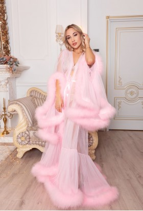 PINK FEATHER DRESS LUXURY BRIDAL DRESSING GOWN