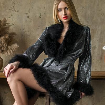 Blck metallic marabou feather luxury dressing gown Erminel