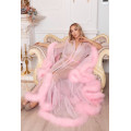 AMAZING PINK MAXI FEATHER PEIGNOIR