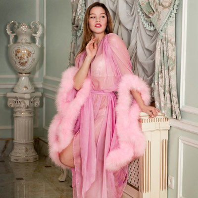 Pink metallic chiffon feather dressing gown