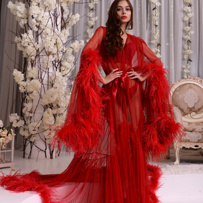 Red ostrich feathers luxury dressing gown Erminel